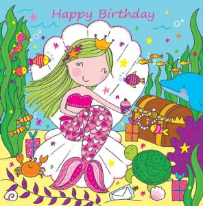LIL7 - Girls Happy Birthday Card Mermaid
